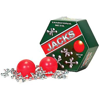 Traditionele metalen Jacks set van 16