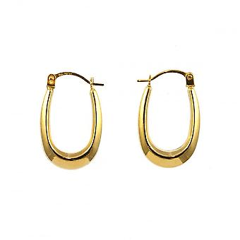 Eternity 9ct Gold Small Oval Polished Creole Hoop Earrings
