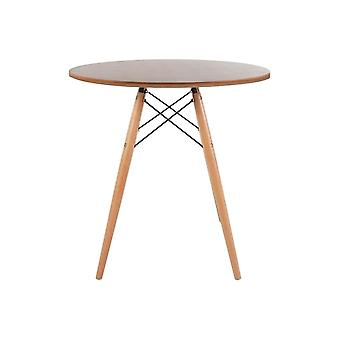 Fusion Living Eiffel Inspired Small Walnut Circular Dining Table With Beech Wood Legs
