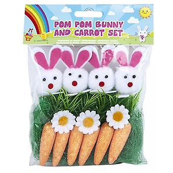 Pom Pom Bunny & Carrot Set Easter Crafts
