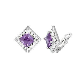Eeuwige collectie pracht paars kristal & Diamante zilveren Toon Stud Clip op oorbellen