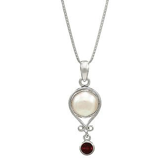 Eternal Collection January Garnet And Pearl Sterling Silver Birthstone Pendant
