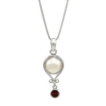 Éternelle Collection janvier grenat et Pearl pendentif en argent Sterling Birthstone