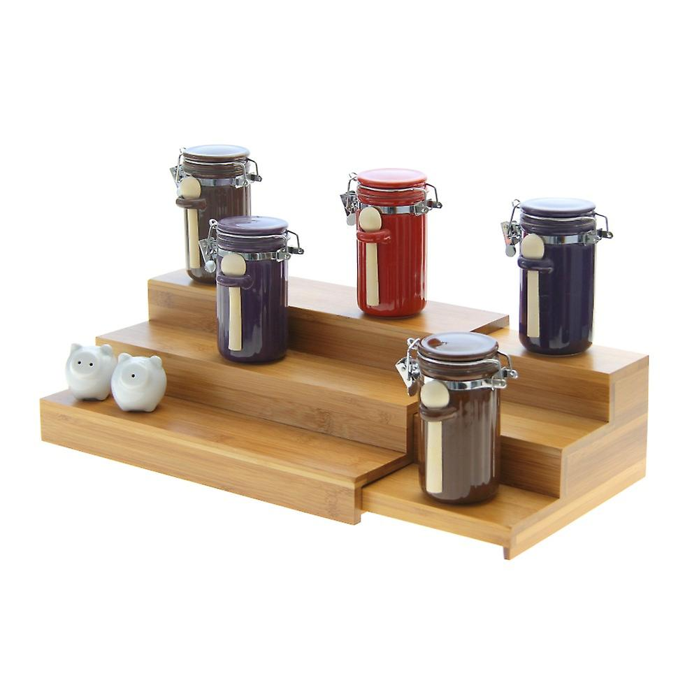 Woodquail Bamboo Adjustable Cupboard Organiser Spice Rack Stepper, Serving Tray, Manicure Display