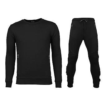 Trainingspakken Basic - Buttons Joggingpak - Zwart