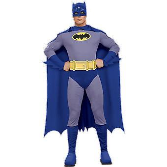 Adult Batman Brave And The Bold Costume Superhero Bat Man Fancy Dress Outfit