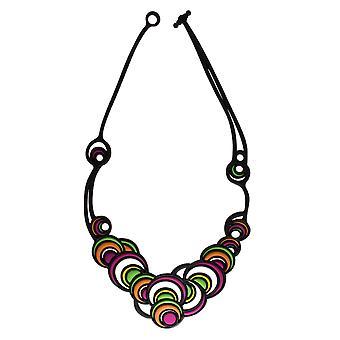 Batucada Skin Jewellery Green Dancing Circles Necklace 8-01-01-01-MULTI1