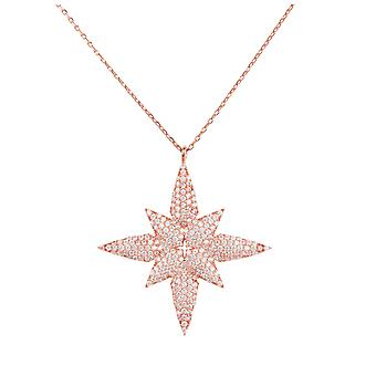 Star Flower Pendant Necklace Pink Rose Gold Sterling Silver  Chain 45cm White CZ