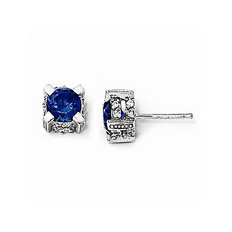 925 Sterling Silver Simulated Post Earrings Rhodium plated 6.5mm Synthetic Sapphire and Cubic Zirconia Stud Earrings Jew