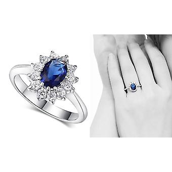 Blue Halo Oval Silver Plated Engagement Ring
