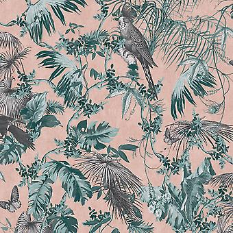 Oasis Tropical Wallpaper Rose Gold Muriva L698-04