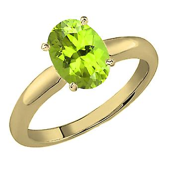 Dazzlingrock Collection 10K 9x7 MM Oval Cut Peridot Ladies Solitaire Bridal Engagement Ring, Yellow Gold