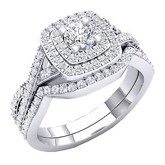 Dazzlingrock Collection 1.40 Carat (Ctw) 10K Round Cut Cubic Zirconia Ladies Halo Engagement Ring Set, White Gold