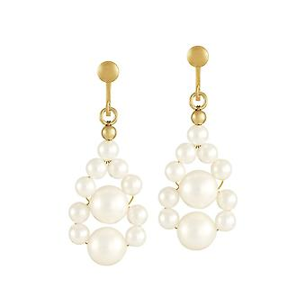 Eternal Collection Adorn White Shell Pearl Gold Tone Drop Screw Back Clip On Earrings
