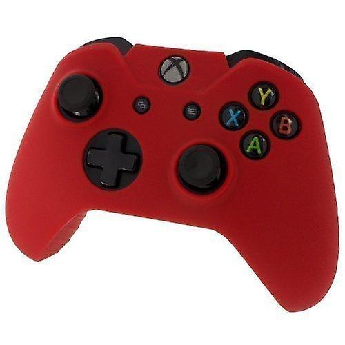 Soft silicone rubber skin grip cover for xbox one controller with ribbed handle - red