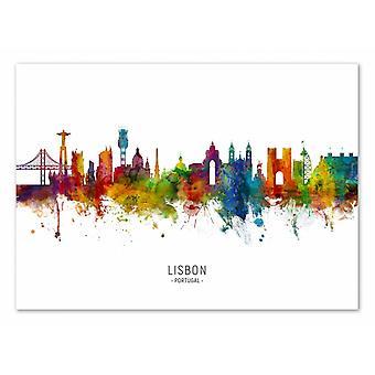 Arte-Cartel - Lisboa Portugal Skyline (Versión coloreada) - Michael Tompsett 50 x 70 cm