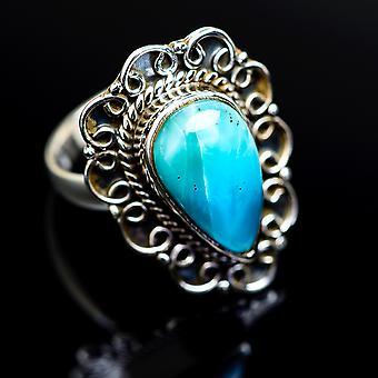 Larimar Ring Size 6.5 (925 Sterling Silver)  - Handmade Boho Vintage Jewelry RING977760