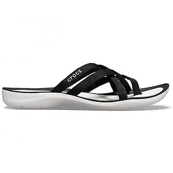 Crocs 205479 swiftwater webbing Flip Naisten sandaalit musta/valkoinen