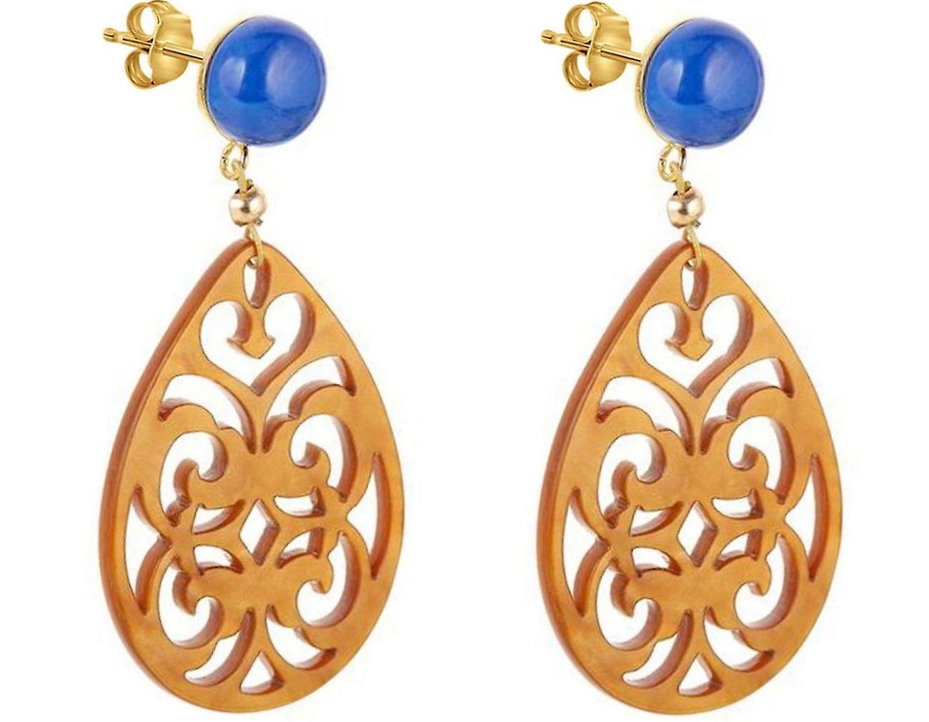 Gemshine Ohrringe Lapis Lazuli und Schildpatt Harz Tropfen 925 Silber Vergoldet