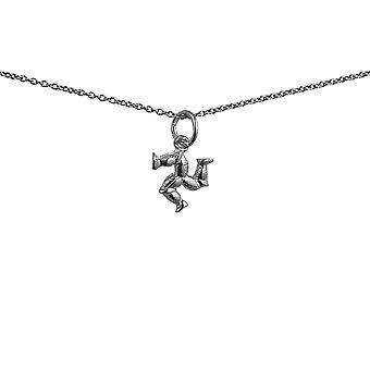 Silver 12x12mm Isle of Man Legs Pendant with a 1mm wide rolo Chain 24 inches
