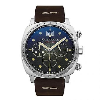 Spinnaker Watch SP-5068-02 - HULL chronograph Stainless steel round case Brown leather strap in Men