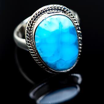 Larimar Ring Size 6 (925 Sterling Silver)  - Handmade Boho Vintage Jewelry RING986783
