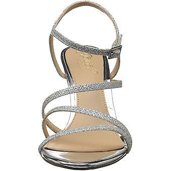 Jewel Badgley Mischka Women's Maddison Sandal, silver glitter, M090 M US