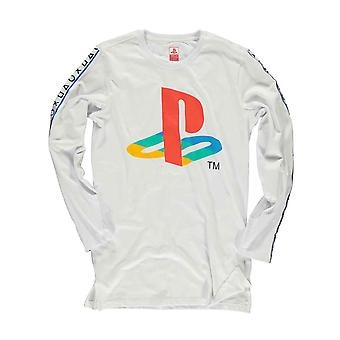 Playstation T Shirt Classic Logo Taping new Official Mens White Longsleeve