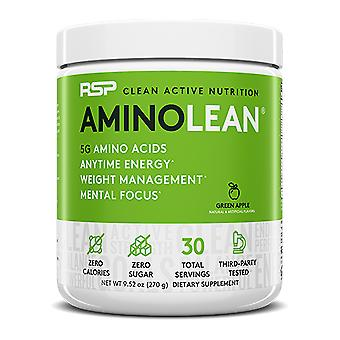 Rsp aminolean - pre-workout energy, fat burner powder, amino acids, recovery, green apple (30 servings)