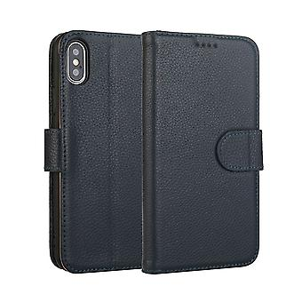 Fashion Navy Cowhide Genuine Leather Wallet For iPhone XS MAX Case