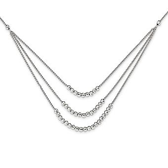 925 Sterling Silver Beaded Multi Layer Necklace 15 Inch - 9.4 Grams
