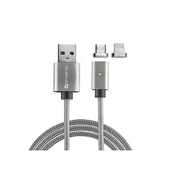 Usb Cable To Lightning And Micro Usb Magnetic Grey 1 Meter