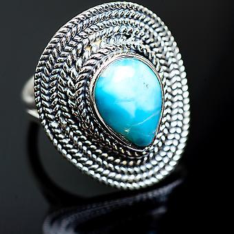 لاريمار رينغ الحجم 7.25 (925 الجنيه الاسترليني الفضة) -- اليدوية بوهو خمر مجوهرات RING991903
