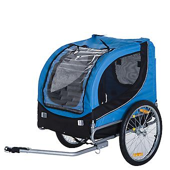 PawHut Steel Pet Bicycle Trailer Dog Cat Bike Carrier Jogger Kit Water Resistant Travel Blue and Black