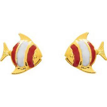Ohrringe Gold gold Fisch 375/1000 gelb original Form Farbe e Schraube (9K)