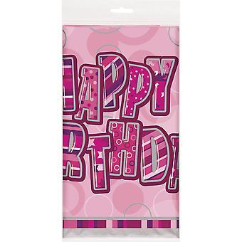 Einzigartige Party Kunststoff Tablecover - rosa Glitzer