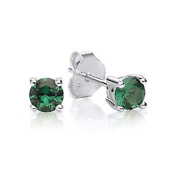 ديفيد دييونغ الجنيه الاسترليني الفضة خلق الأخضر الزمرد مسمار الأقراط مايو حجر الميلاد
