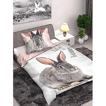 Bunny Rabbit Single Cotton Dekbed Cover en Pillowcase Set - Europees
