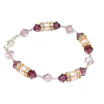 SPARK Pearl & Purple 925 Silver Bracelet with elements made with Swarovski Crystals