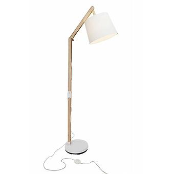 BRILLIANT Lamp Carlyn Floor Lamp 1flg wood light/white   1x A60, E27, 60W, suitable for normal lamps (not included)   Scale A++ to E   With foot switch