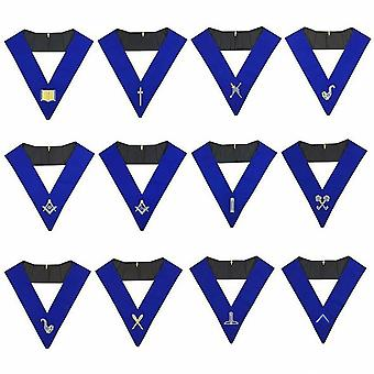Lodge officers collar set of 12 machine embroidery collars