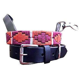 Carlos diaz genuine leather  polo dog collar and lead set cdkupb499