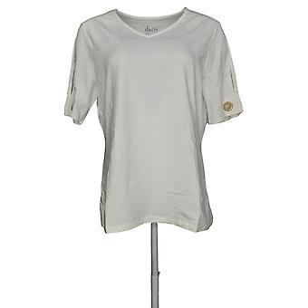 Denim & Co. Women's Top V Neck Split Short Sleeve White A291644