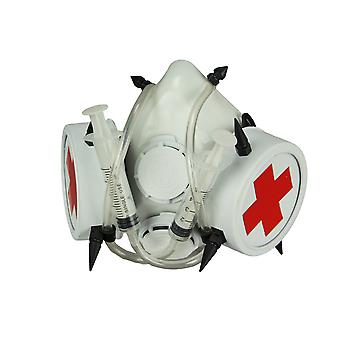 White Bio-Hazard Nurse Gas Costume Mask with Medical Syringes and Spikes