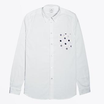 PS بول سميث -- بقعة قميص الجيب -- أبيض
