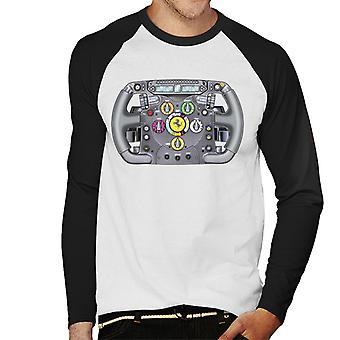 モータースポーツ イメージ フェラーリ F138 アロンソ ステアリング ホイール メン&アポス;s 野球ロングスリーブ Tシャツ