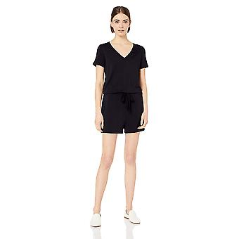 Brand - Daily Ritual Women's Supersoft Terry Short-Sleeve V-Neck Romper, Navy, X-Small