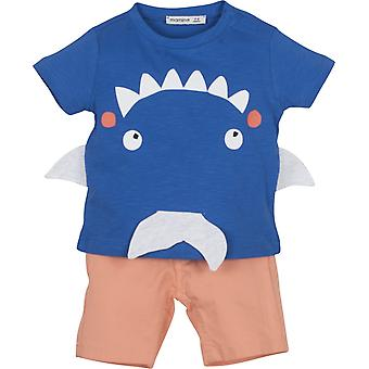 Mamino Baby Boy Zoo  Blue Coral Bermuda and T  Shirt Set