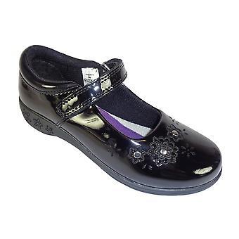 Girls black patent Frozen school shoes