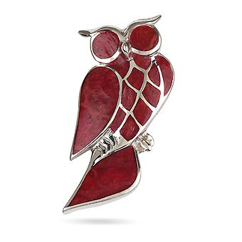 ADEN 925 Collier pendentif Sterling Silver Coral Owl (id 2546)